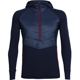 Icebreaker M's Ellipse LS Half Zip Hood Midnight Navy/Rocket